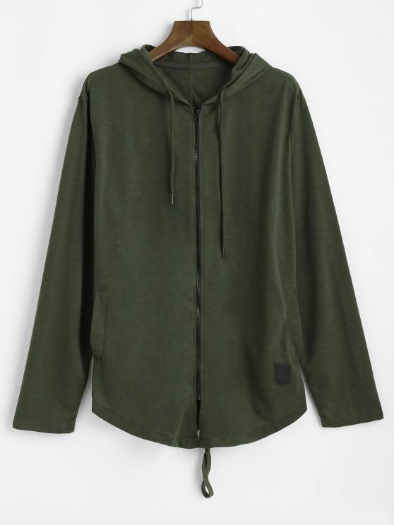 Back Slit Zip Up Drawstring Hoodie - الجيش الأخضر L
