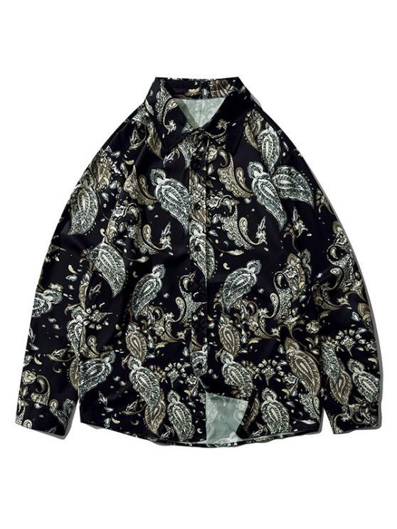 women's Plant Flower Leaf Print Long Sleeve Shirt - BLACK XL