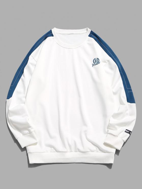 women's Embroidery Letter Colorblock Stitching Sweatshirt - WHITE XS