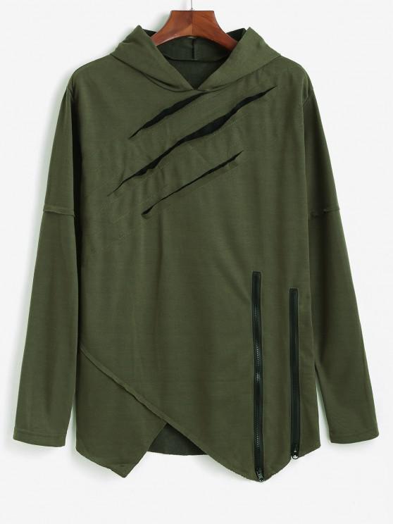 Ripped Zipper Slit Asymmetrical Hoodie - الجيش الأخضر XS
