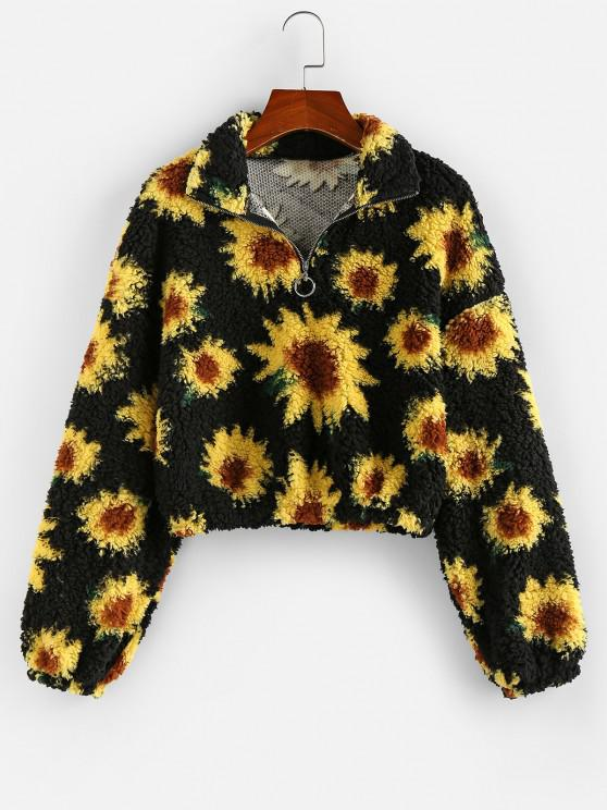 ZAFUL Flower Drop Shoulder Zip Placket Teddy Sweatshirt - أسود M
