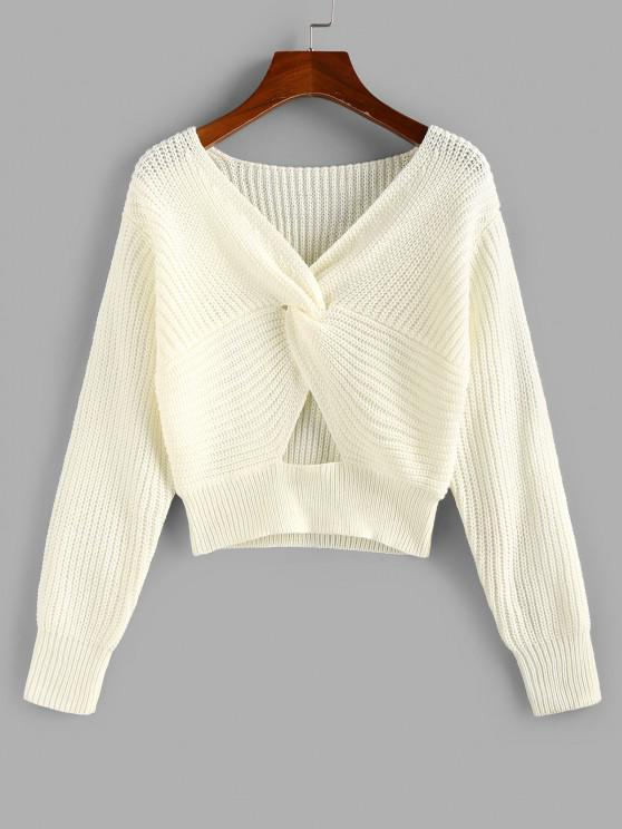 ZAFUL Twisted Keyhole Crop Jumper Sweater - أبيض M