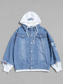 Letter Applique Hooded Faux Twinset Jean Jacket - Light Blue L