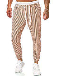 Vertical Striped Print Casual Pants - Khaki 2xl