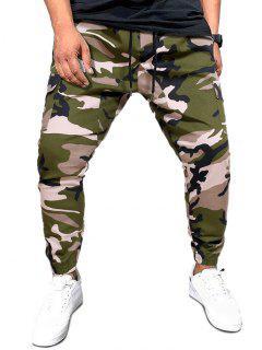 Pantalon Cargo Camouflage Imprimé Avec Poches à Rabat à Cordon - Vert Camouflage Xl
