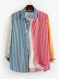 ZAFUL Contrast Striped Print Button Up Shirt - Multi Xl