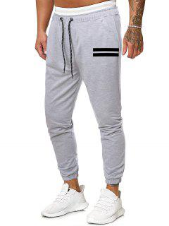 Striped Print Tapered Sports Pants - Gray 2xl