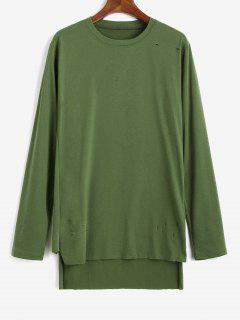 Side Slit Ripped High Low T-shirt - Green Xs