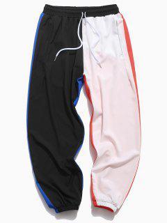 Calças De Cintura Elástica De Color Blocking Painel Elástico - Preto S