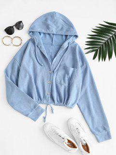 Hooded Front Pocket Knit Jacket - Blue Koi M