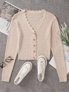 Button Up V Neck Crop Cardigan - Champagne Gold S