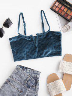 ZAFUL Shimmer Velvet Ribbed V Wired Bikini Top - Deep Blue S