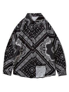 Bandana Print Button Down Shirt - Black Xl