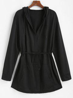 Veste à Capuche Ouverte En Avant à Cordon - Noir 3xl