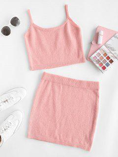Knitted Fuzzy Cropped Two Piece Dress - Light Pink