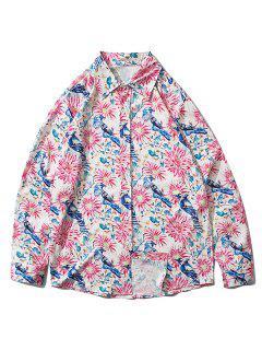 Plant Flower Bird Print Button Down Shirt - Pink Rose S