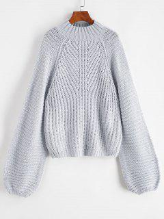 Mock Neck Raglan Sleeve Chunky Sweater - Gray Goose