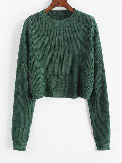 Plain Cropped Oversized Sweater - Deep Green S
