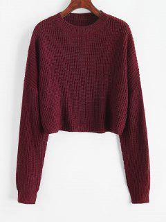 Plain Cropped Oversized Sweater - Firebrick S