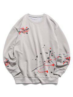 Splash Paint Letter Print Sweatshirt - Gray S