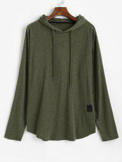 Drawstring Letter Applique Casual Hoodie - Army Green 2xl