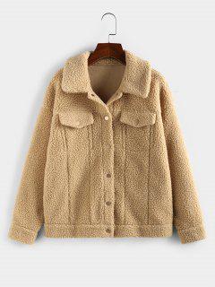 ZAFUL Faux Fur Drop Shoulder Button Up Coat - Khaki S