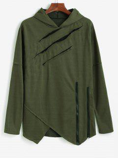Ripped Zipper Slit Asymmetrical Hoodie - Army Green S