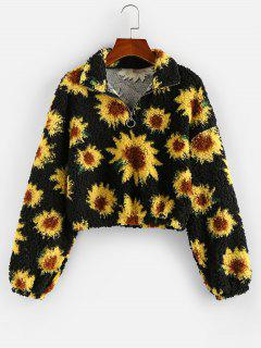 ZAFUL Flower Drop Shoulder Zip Placket Teddy Sweatshirt - Black M