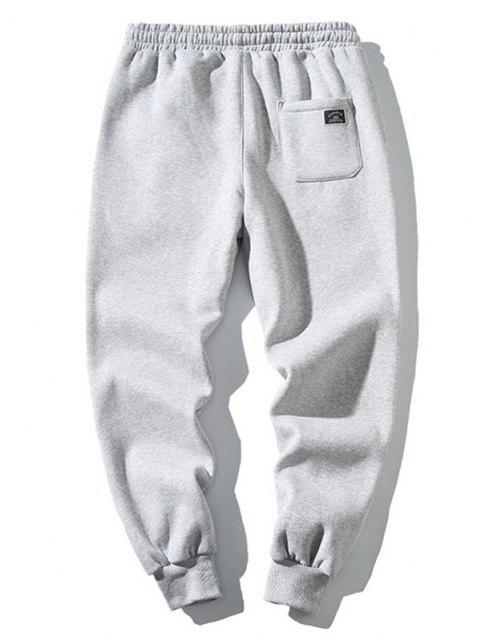 fancy Embroidery Letter Drawstring Jogger Sweatpants - LIGHT GRAY S Mobile
