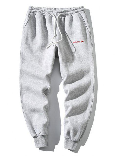 affordable Embroidery Letter Drawstring Jogger Sweatpants - LIGHT GRAY XL Mobile