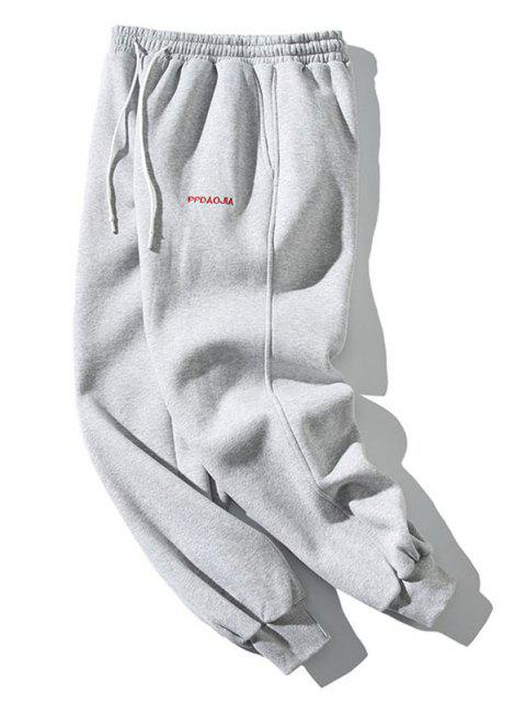 buy Embroidery Letter Drawstring Jogger Sweatpants - LIGHT GRAY 2XL Mobile