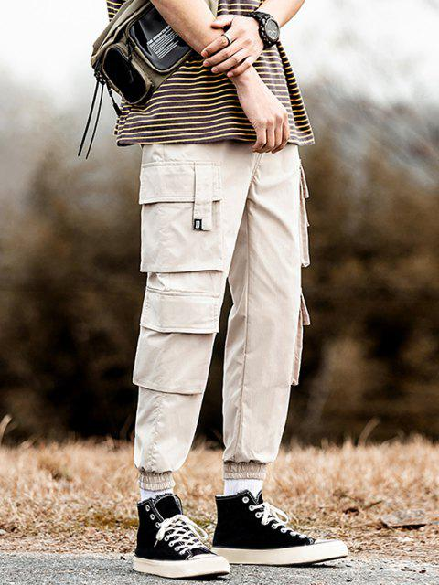 buy Multi Flap Pockets Drawstring Cargo Jogger Pants - KHAKI XS Mobile