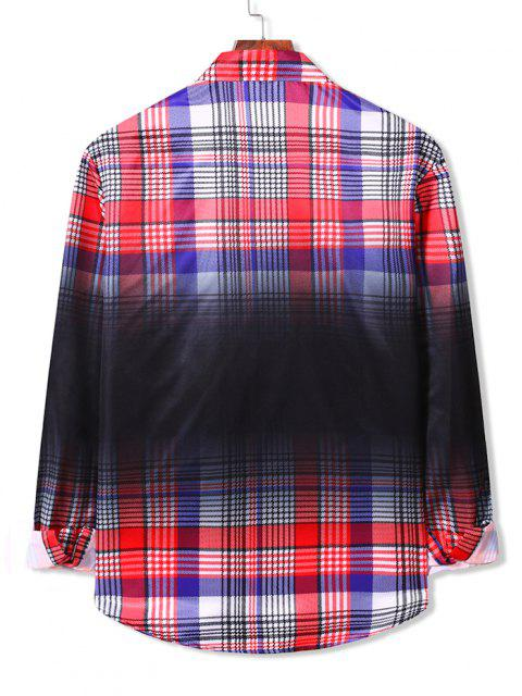 women's Gradient Plaid Print Button Down Shirt - RUBY RED 2XL Mobile