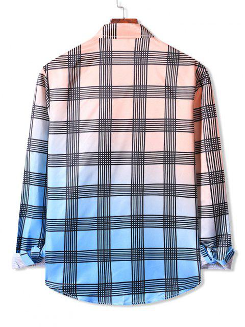 outfits Ombre Plaid Print Button Up Shirt - APRICOT 2XL Mobile