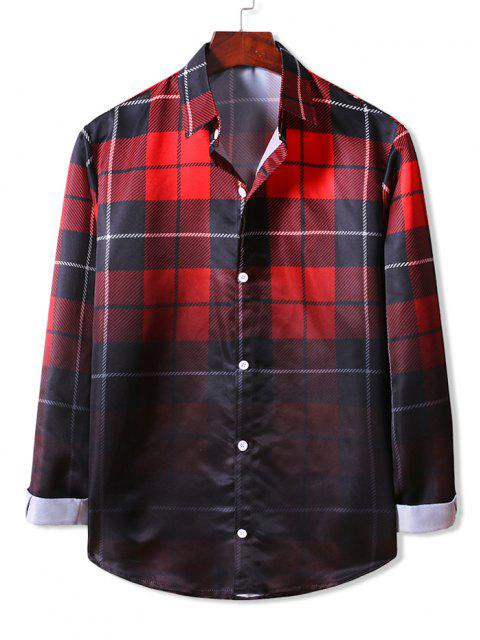 shops Ombre Plaid Long Sleeve Shirt - LAVA RED 2XL Mobile