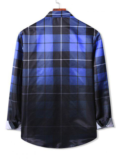 Camisa con Mangas Largas a Cuadros Degradados - Azul Profundo S Mobile