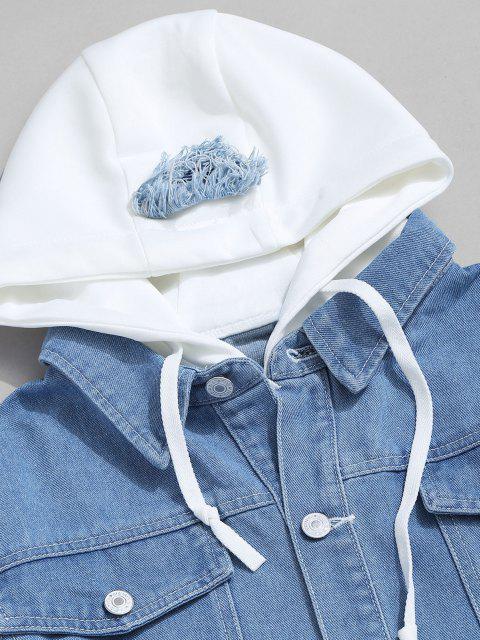 Veste à Capuche Lettre Applique Fausse Deux Pièces en Denim - Bleu clair XL Mobile