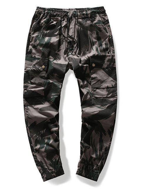Pantalones Casuales de Estampado de Camuflaje de Cordón - Verde Camuflaje XL Mobile