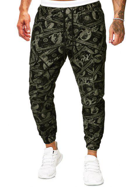 Pantalones Lápiz Ajustados Diseño Impreso Dinero Papel - Verde Camuflaje XL Mobile