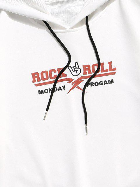 ladies Rock Roll Graphic Colorblock Panel Hoodie - WHITE XS Mobile