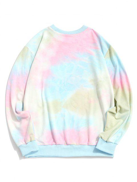 Sweat-shirt TeintéSloganImprimé à Ourlet Côtelé - Bleu Clair XL Mobile