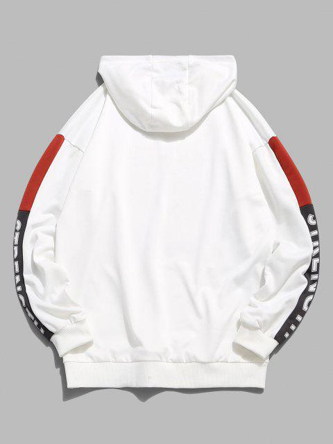 best Rock Roll Graphic Colorblock Panel Hoodie - WHITE XL Mobile