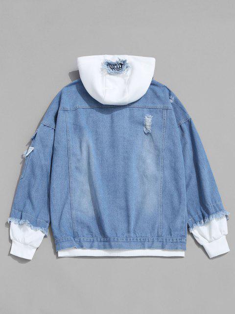 Veste à Capuche Lettre Applique Fausse Deux Pièces en Denim - Bleu clair 2XL Mobile