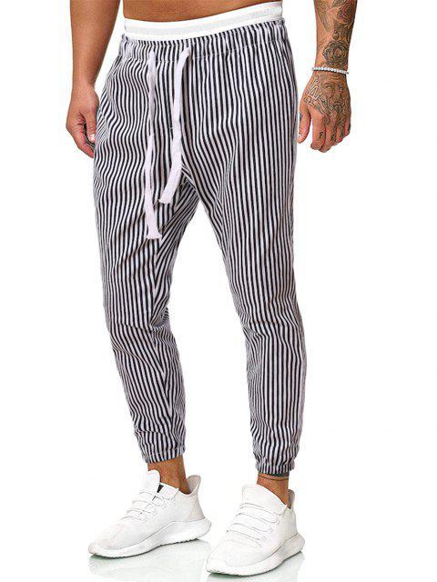 Pantalones Casuales Estampados Rayas Verticales - Negro XL Mobile