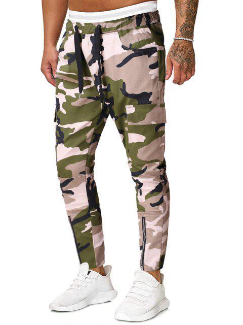 Pantalones Lápiz Camuflados Cremallera y Cordones - Verde Camuflaje XL Mobile