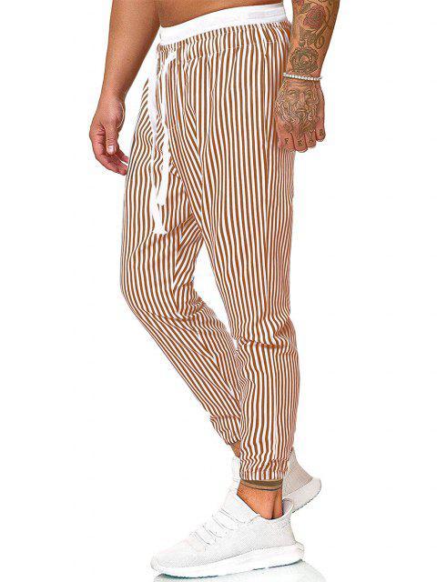 shops Vertical Striped Print Casual Pants - KHAKI 2XL Mobile