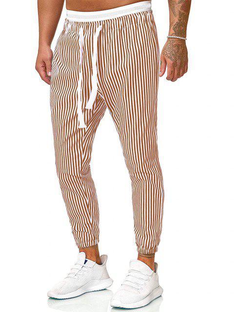 fancy Vertical Striped Print Casual Pants - KHAKI S Mobile