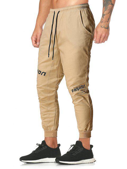 Pantalones Rayados Estampado Letras y Cordones - Caqui XL Mobile