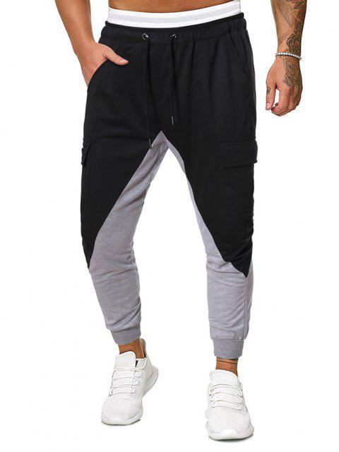 Bicolor Lässige Breite Füße Hose - Schwarz 2XL Mobile