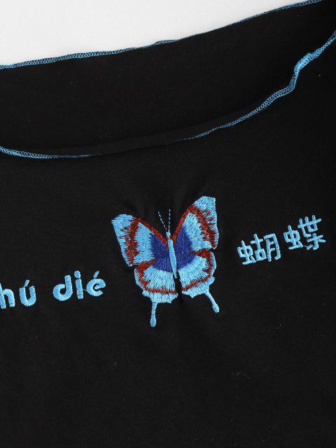 T-Shirt Ricamata a Farfalla con Spalle Scoperte - Nero S Mobile